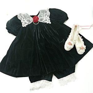 Vintage Velvet 2 Piece Black Velvet Dress Size 24